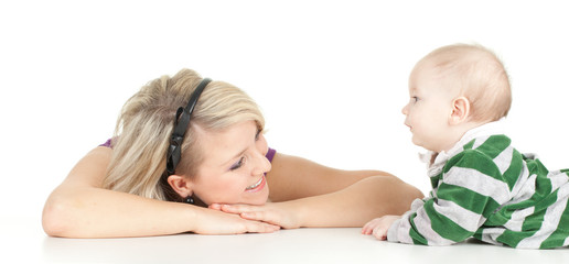mother's love -  cute 5 month baby boy with mother