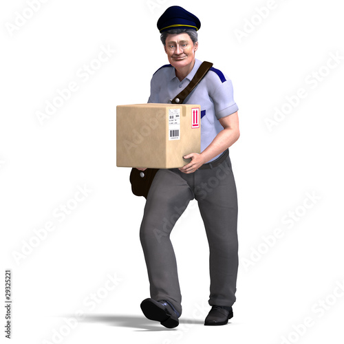 the nice postie carries a heavy package. 3D rendering with