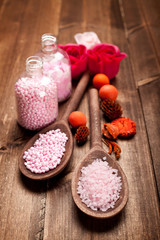 Pink bath salt for aromatherapy