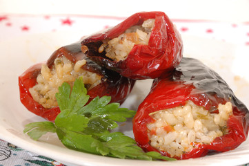 Organic red paprika with mince and rice