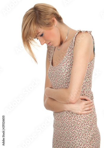 young woman suffering from pain of stomach