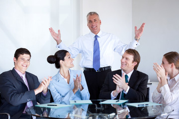 Business team applauding