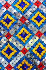 Pillar with glazed tile in Temple of Wat Phra Kaew