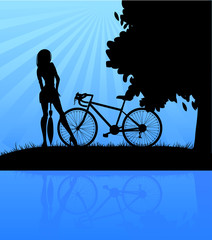 Bicycle and women, vector illustration