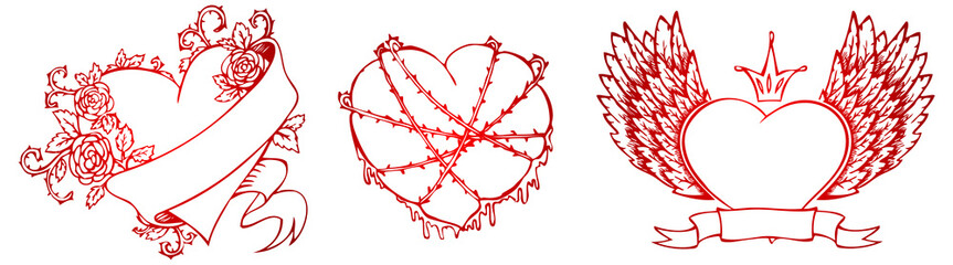 Vector illustration of set Hearts