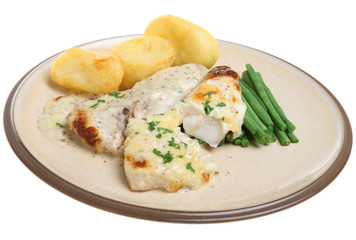 Baked Haddock Fish in Cheese Sauce