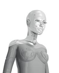 Stylish steel futuristic woman robot