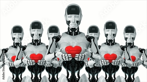 Futuristic robots with hearts