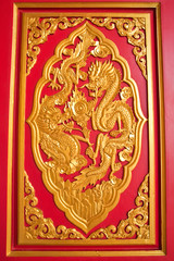 golden dragon decorated on red wood in chinese temple,Nonthaburi