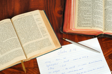 Greek and English Bibles open to John with study notes