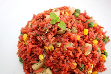 Red rice with vegetable
