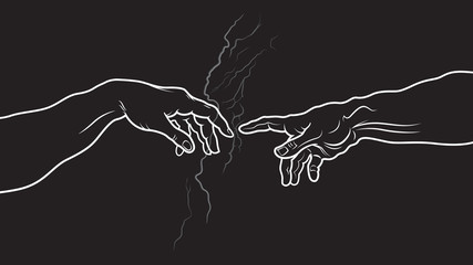 The Creation of Adam. Fragment (Invert vesion)