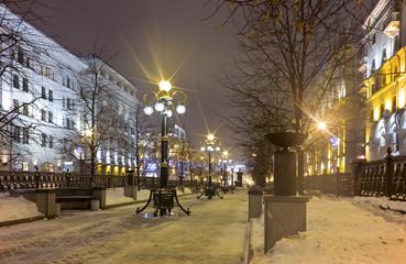 illuminated square at night