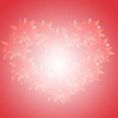 Corazón de flores con reflejo interior