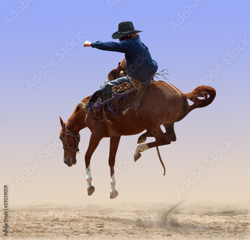 Foto op Canvas Paardensport Airborne Rodeo Bronco