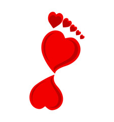 Vector illustration of a footprint made with hearts.