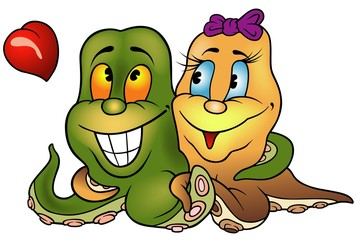 Octopus Love - colored cartoon illustration