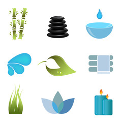 Spa items icon set