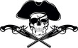 Piracy flag with  skull and crossed pistols