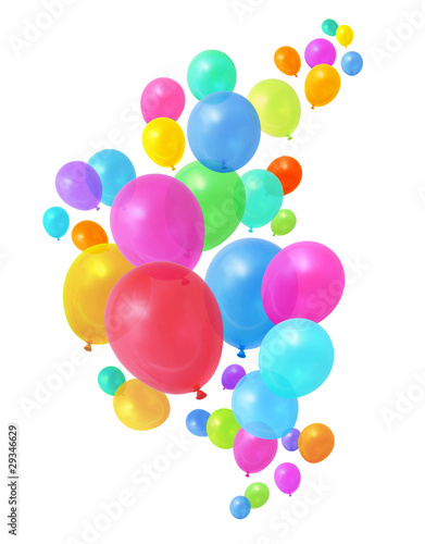 Leinwanddruck Bild Colorful balloons flying