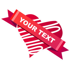 Heart-shaped red label with space for your text