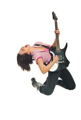 Rock girl with guitar singing