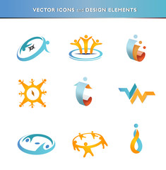 Collection of abstract people icons
