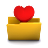 3d Folder favourite with heart