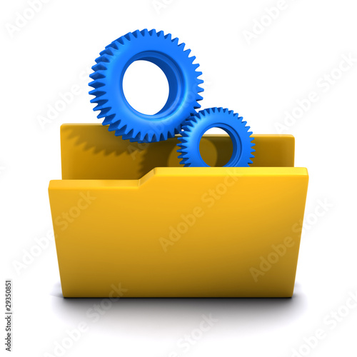 3d Folder gears or cogs