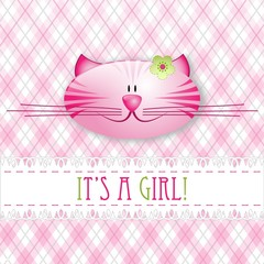 """It's a girl!"" baby card"