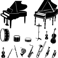 musical instruments collection vector