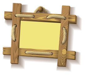 Wooden frame hanging on crude rope, vector