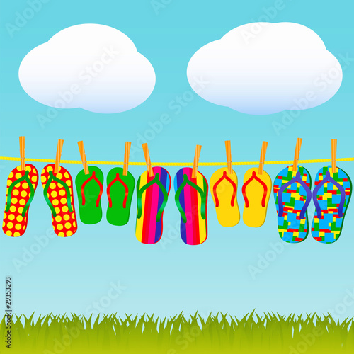 Colorful flip-flops on a rope