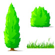 Set of cartoon green plants. Vertical tree, bush, grass.