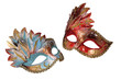 Two carnival Venetian masks isolated on white