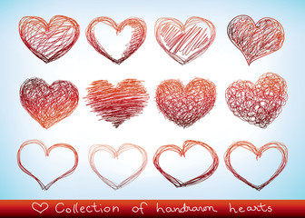 collection of handdrawn sketch hearts