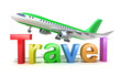 Travel word concept with plane isolated on white my own design