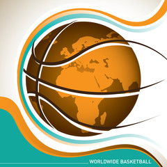 Conceptual designed worldwide basketball banner.