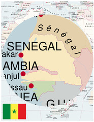 Senegal map africa world business success background