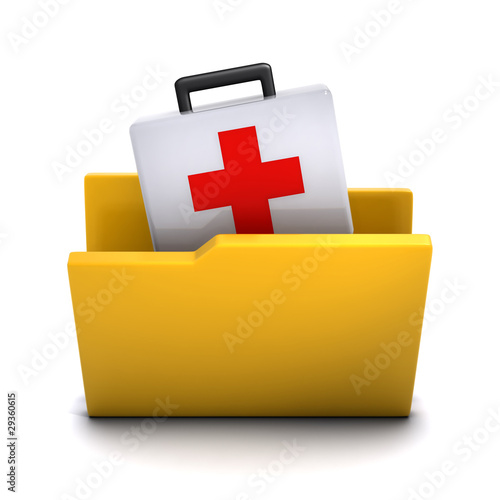 3d Folder containing first aid kit