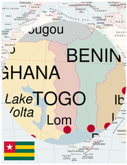 Togo map africa world business success background