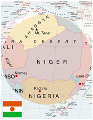Niger map africa world business success background