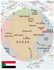 Sudan map africa world business success background
