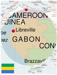 Gabon map africa world business success background