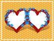 two hearts frame with forget me not flowers pattern