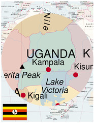 Uganda map africa world business success background