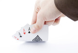 Player hand revealing four aces poster