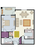 Floor plan of one-bedroom condo with furniture
