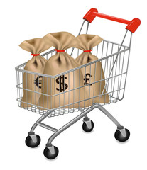 Shopping cart with money bags. Vector.