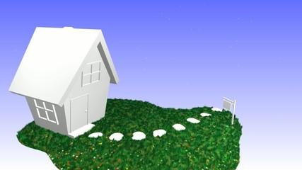 Haus mit Schild - Wohngemeinschaft